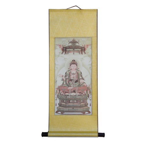 Chinese Traditional Wood Panel Print Bhaisajyaguru Portrait Hanging Scroll f379S