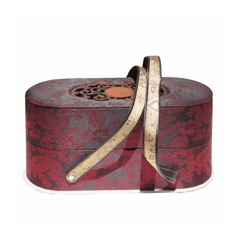 Unique Asian Style Wine Red Floral Graphic Fabric Gift Food Basket Box f449