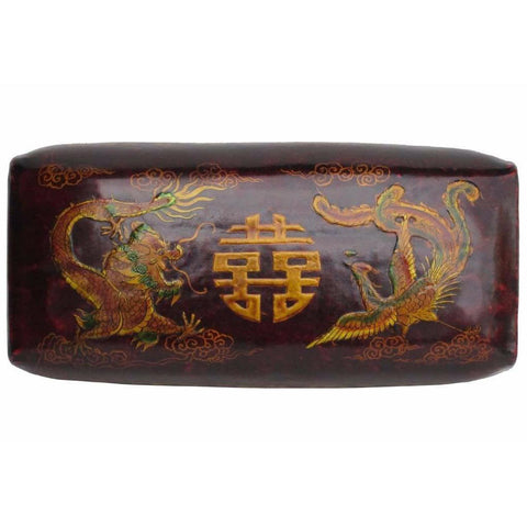 Traditional Handmade Chinese  Dragon & Phoenix Motif Red Leather Pillow f592S