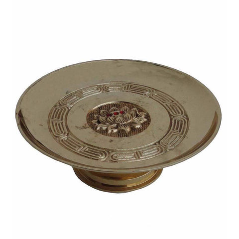 gold color metal offering plate