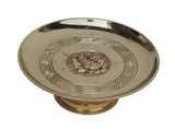 Chinese Handmade Floral Pattern Gold Color Copper Offering Plate / Candle Holder f596S