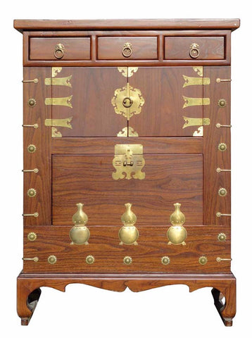 Chinese Brown Color Bronze Gourd Motif Wooden Cabinet f715S