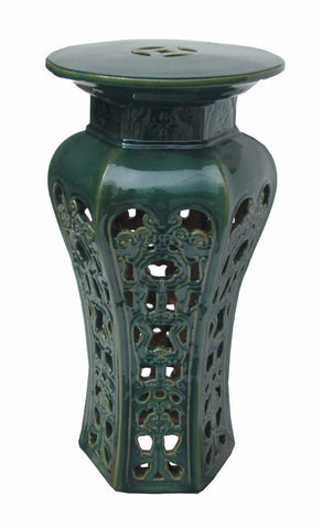 Ceramic Clay Grass Green Round Tall Pedestal Stand f786S