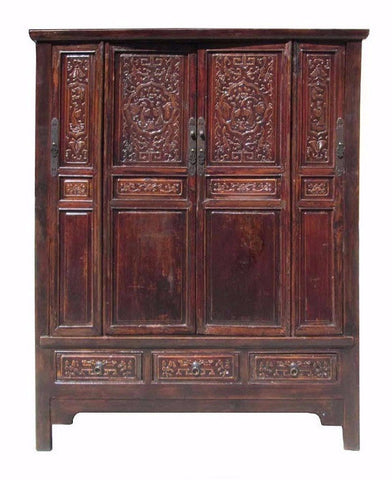 Chinese Vintage Wood Hand Carving Armoire Cabinet f852S