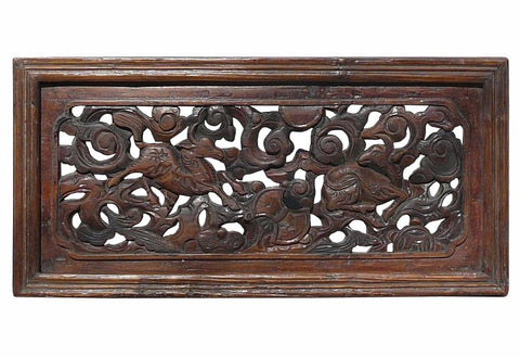 Chinese Antique Deers & Flowers Wooden Panel f981S
