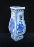 Chinese Blue & White Mountain & Villa Hand painting Two Ears Square Vase f985S