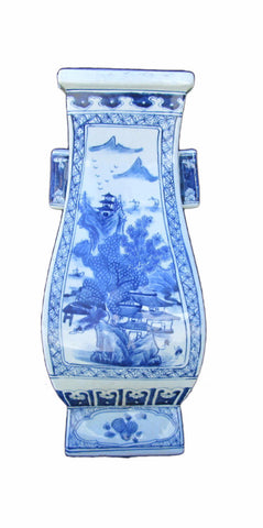 Chinese Blue & White Mountain & Villa Hand painting Two Ears Square Vase