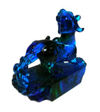 Chinese Blue Liuli Crystal Glass Pate de Verre Fengshui Pixiu Figure cs1034-2S