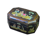 Vintage Handmade Chinese Octagon Painting Scenery Decorative Lacquer Box fs129S