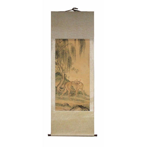Chinese scroll dog figure painting