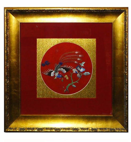 Framed Chinese Embroidery Flower Phoenix Wall Decor fs568s