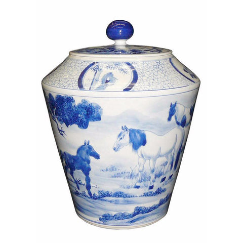 blue and white horse painting container jar