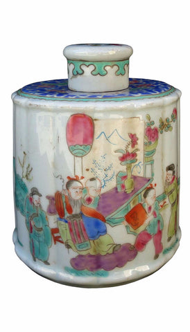 Chinese round shape porcelain tea storage