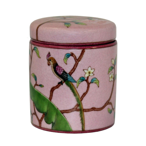 Handmade Chinese Bird and Flowers Painting Small Porcelain Container Jar Box JZ364S