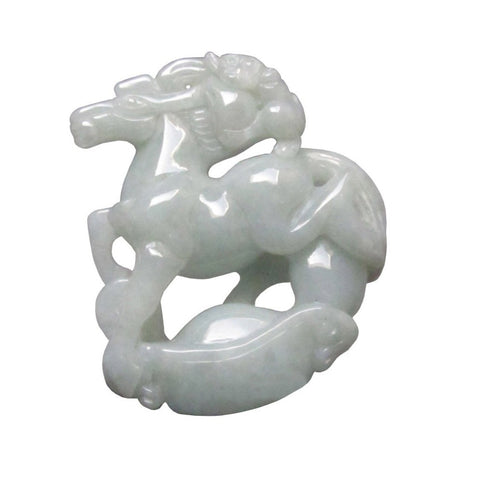 jade zodiac horse and monkey pendant
