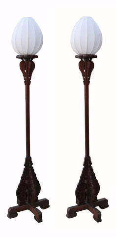Pair Chinese Rosewood Carved Tall Floor Lamps s1152S
