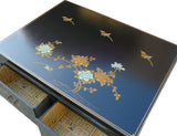 Chinese Rectangular Black Color Leather Coffee Table With Gold Painted Birds And Flowers Art m117S