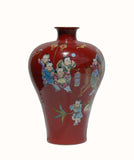 Chinese red color longevity vase