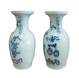 Blue and Light Green Pair Chinese Porcelain Graphic Vase mh154S