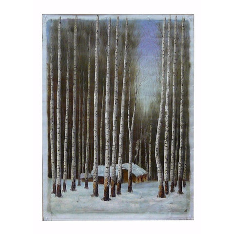 snow forest scene oil painting