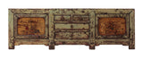 Chinese Grey Green Mixed Credenza Side Table TV Console Cabinet mh205S