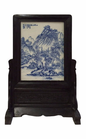 Blue white panel - table top accent - Chinese accent