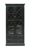 Chinese Oriental Black Glass Door Display Storage Cabinet mh287S