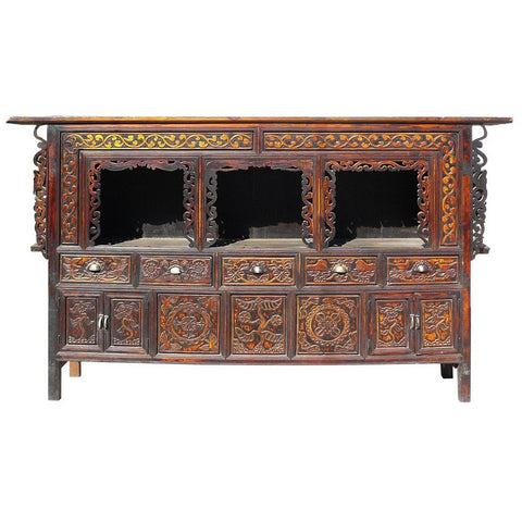 antique Chinese long carve cabinet