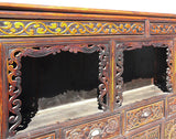 Chinese Vintage Relief Carving Long Shine Altar Table Cabinet mh291S