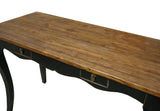 Rustic Raw Plank Black Curve Legs Console Writing Desk Table mh307S