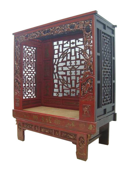 Antique Chinese Wood Carving Hand Made Red Bed Daybed