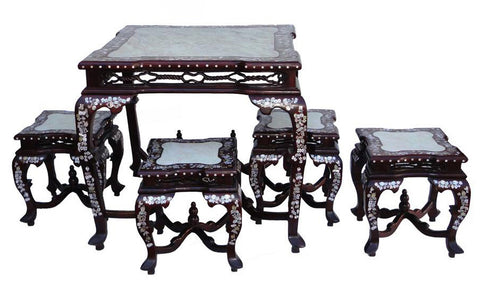 Chinese Rosewood Mother Pearl Inlaid DiningTable Set With 4 Chairs f383S