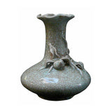 Chinese Celadon Crackle Ceramic Pottery Vase With 3D Floral Art