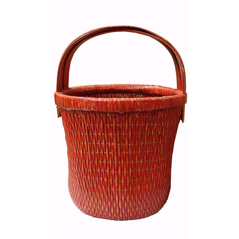 red color rattan basket