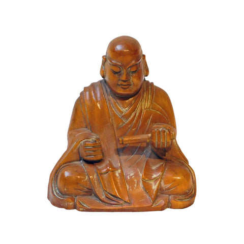 box wood monk statue