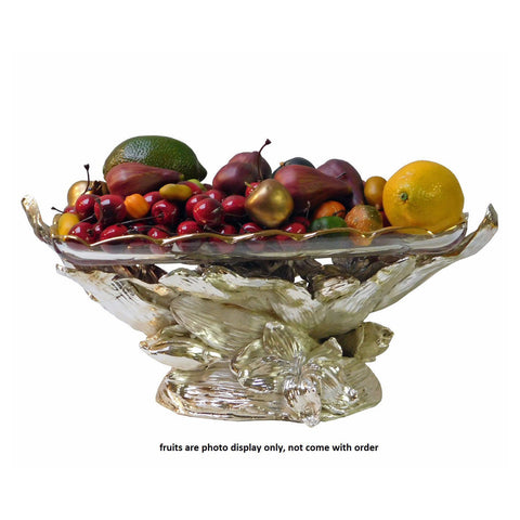 Light Gold Silver Color Fruits Display Flowers Design Fiber Base Glass Plate Tray