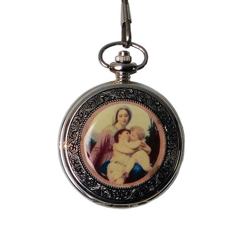 Round Shape Lady & Baby Hugging Painting Chain Pocket Watch