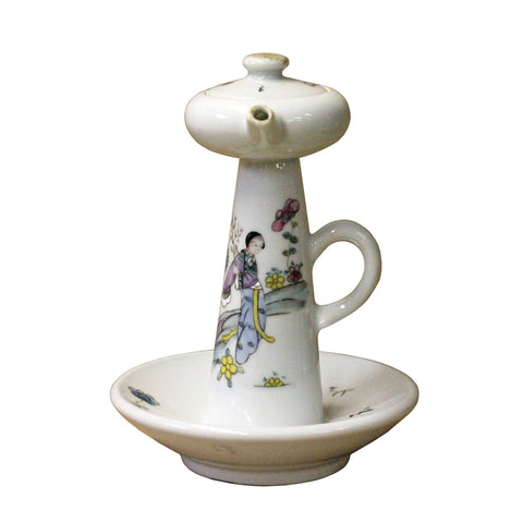 Porcelain Lady Side Scene Garden Play Drawing Oil Lamp