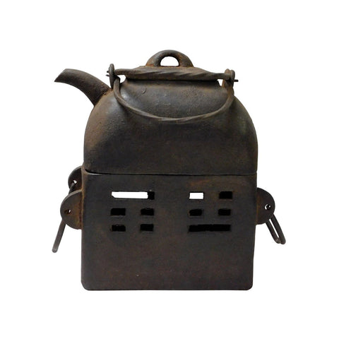 Rectangular Shape Rustic Iron Teapot WIth Charcoal Stove On Bottom