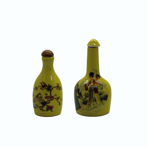 Two Yellow Color Porcelain Snuff Bottle With Figures, Crane And Floras Arts n375S