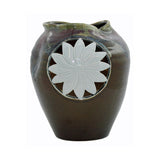 Modern Handmade Artistic Abstract Brown Red Gloss Grace Vase With Sun Flower Graphic
