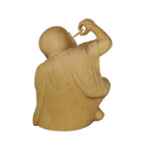Artist Crafter Solid Light Wood Color Meditate Arhat Monk Statue Digging Ear n400S