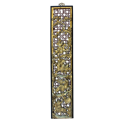 "Chaozhou 3D Golden Lacquer Wood Carving ""Story Of Ancient Warriors"" Wall Panel n406S"
