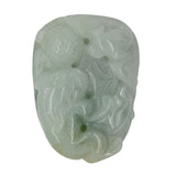 Jade Pendant Light Green Pixiu Chasing Lucky Ball With Bat and Money Figure n413S