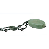 White Green Oval Jade Necklace