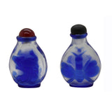 Lot of Two Clear Peking Glass Snuff Bottle With Craved Blue Figures Arts n438S
