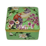 porcelain jewelry box with parrot painting