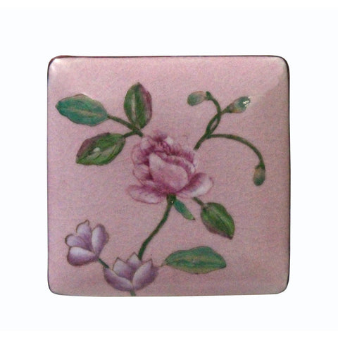 Contemporary Flower Painting Square Porcelain Box - Jewelry Box n446S