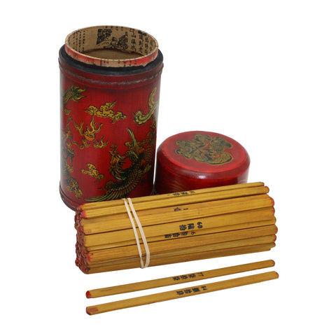 Ancient Asian Lottery Poetry - Fortune Telling Stick With Dragon & Phoenix Painting n450S (Large)
