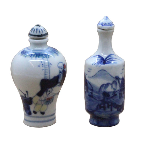 Lot Of 2 Collection Blue & White Painting Art Snuff Bottle n493S